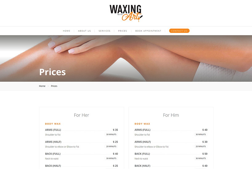 Web Design - Waxing with Art