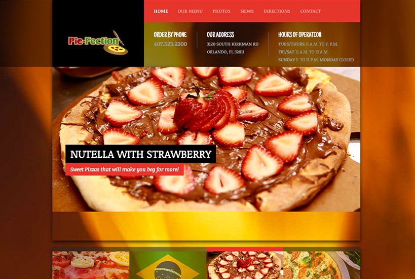 Web Design - Pizzaria Pie Fection